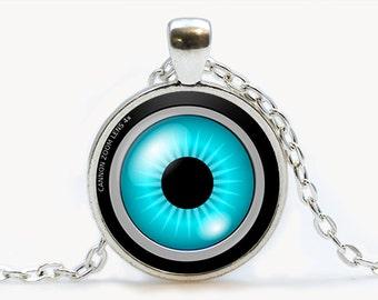 Camera Lens Blue Eye pendant. Camera Necklace. Camera jewelry. Birthday gift