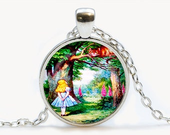 Alice with the Cheshire Cat Pendant. Alice in Wonderland Necklace. Illustration jewelry. Birthday gift