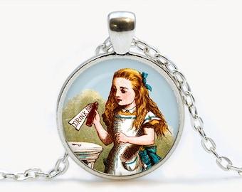 Drink Me Alice in Wonderland Pendant. Alice Necklace. Illustration jewelry. Birthday gift