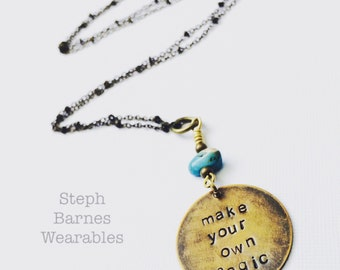 Make your own magic necklace in brass with turquoise detail