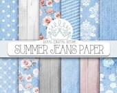"""Denim Digital Paper: """" Summer Jeans Digital Paper """" with denim digital paper, denim texture, wood texture, damask for scrapbooking"""