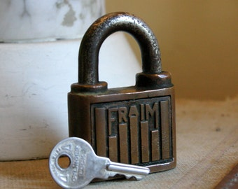 Vintage Fraim American Made Padlock with Key