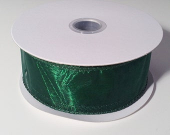 "1 1/2"" Wired Edge Organza Ribbon - Hunter Green - 10 Yards"