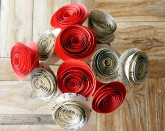 Paper Flower Posy - 12 Red and Sheet Music Flowers