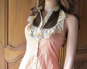 Vintage pip(top) for woman, Louise, printed Vichy and liberty