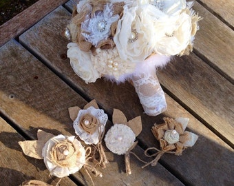 Wedding bouquet, burlap flowers, wedding bouquet vintage inspired, wedding bouquet fabric flowers, weddimg bouquet burlap flowers