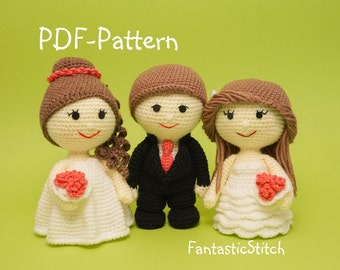 Crochet pattern wedding couple SET bride groom wave and ruffles dresses amigurumi PDF