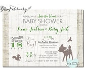 Woodland Baby Shower Invitation // Baby Boy Shower Invite // Deer Shower Invites // Vintage Retro Rustic // Printable OR Printed No.1020BABY