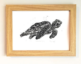 Nautical black sea turtle original lino print