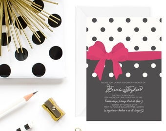 Bow Baby Shower Invitation | Girl Baby Shower Invitation | Black, White and Red Baby Shower Invite
