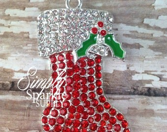 41mm Christmas Stocking Red & White Holly Rhinestone Pendant Chunky Necklace Beads