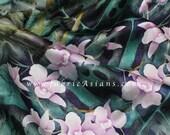Green Leaves Silk. Floral Silk. Stretch Satin. SSB100659
