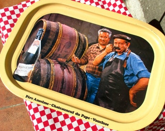 70s French metal / tin advertising tray 'la fiole du pape', Châteauneuf-du-Pape
