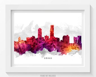 Omaha Nebraska Skyline Poster, Omaha Cityscape, Omaha  Art, Omaha Print, Omaha Decor, Home Decor, Gift Idea 14