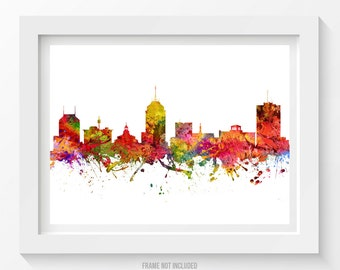 Fresno California Skyline Poster, Fresno Cityscape, Fresno Art, Fresno Decor,  Home Decor, Gift Idea 08