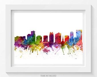 Orlando Florida Skyline Poster, Orlando Cityscape, Orlando Art, Orlando Decor, Home Decor, Gift Idea 06