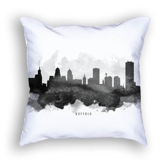Buffalo New York Throw Pillow 18x18 Buffalo Skyline