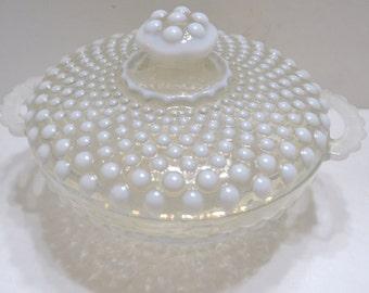 Covered Bowl Moonstone Opalescent Hobnail pattern  glass starburst pattern on the bottom