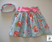 Girls skirt, Roses, Blue, Cath Kidston print, Twirl skirt, Girls clothing, 100% cotton, girl, baby, toddler, size 6m to 10Y