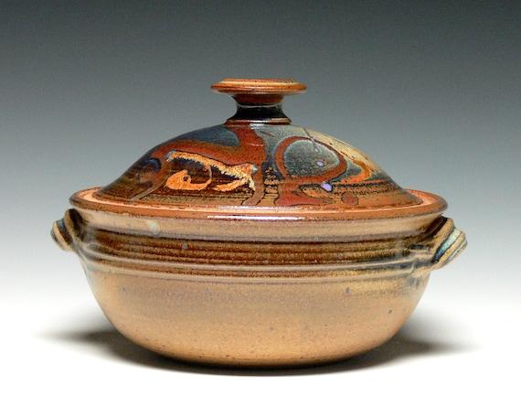 Ceramic Stoneware Baking : Pottery casserole dish covered bowl stoneware baking