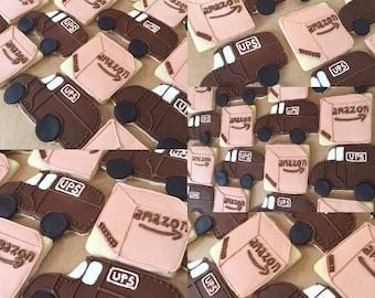 UPS van and amazon box cookies