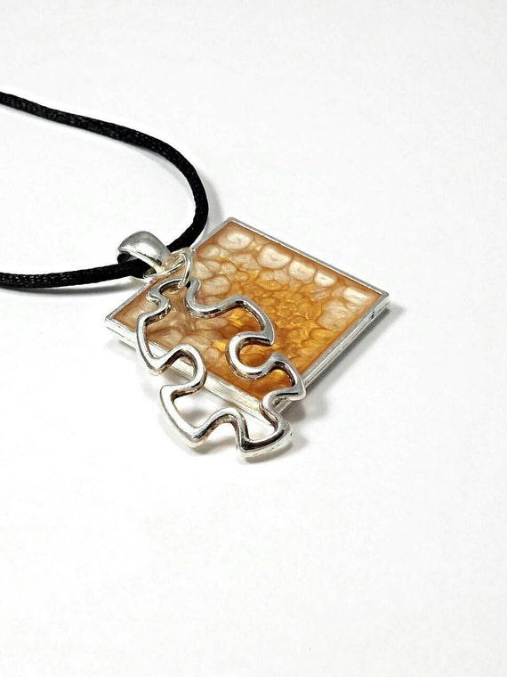 autism jewelry autism necklace puzzle necklace by