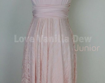 Junior Bridesmaid Dress Infinity Dress Coral Lace Convertible Dress Multiway Wrap Dress