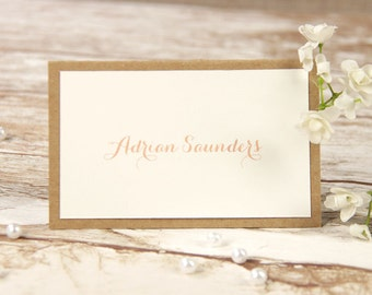 Soft Pink Lace Rustic Wedding Place Card