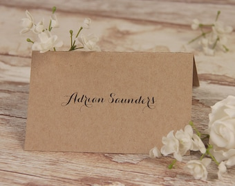 Kraft Paper White Flower Rustic Wedding Place Card