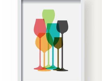 Modern Wine Glass Decor, Colorful Wine Glass Poster, Wine Poster, Wine glass, Wine kitchen decor, Wine print, Wine poster, Wine wall art