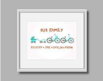 Custom Family Print, Bikes, Bicycles, Baby Announcement, Baby Bike Family Bikes Print, New Baby Wall Art, Family Print, Bicycle Print