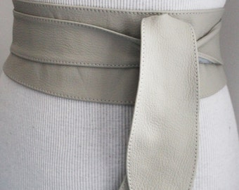 SALE Light Grey Leather Obi Belt, Leather Tulip tie belt, Real Leather Belt, Womens Belts, Plus size belts