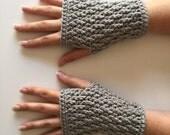 Crochet Fingerless Gloves | Light Grey | iGlove v1.0