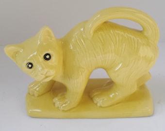 Heavy Yellow Ceramic Cat Book End, Door Stop or Figurine