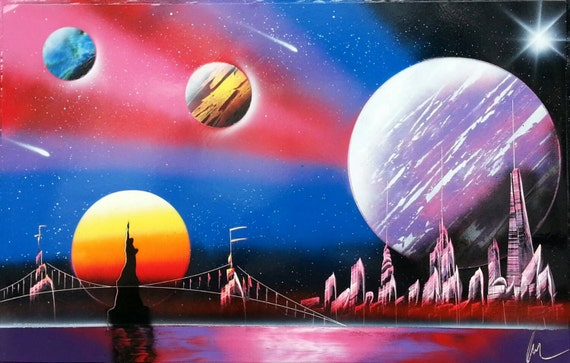 Items Similar To Nyc Street Art Spray Paint Art Space Painting On Etsy
