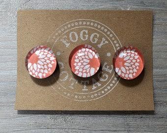 Orange flower magnets, set of 3, gift ideas