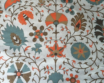 Blue and orange - Calypso - Lacefield - Designer Upholstery Fabric By The Yard