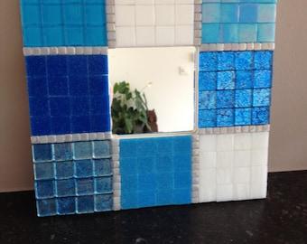 beach home glass mosaic mirror, mirror blue and white, mosaic mirror, mosaic mirror,home decoration mirror