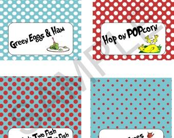 Dr Seuss Party Food Tent Labels-Printable