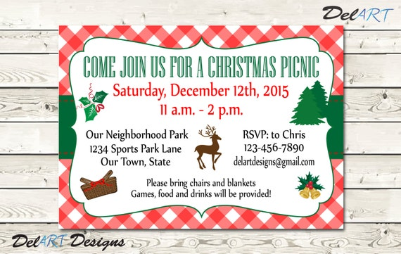 items similar to christmas picnic invitations  or save the