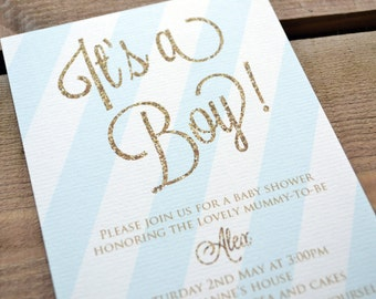 """Baby Shower Invitation - Personalised """"Its a Boy!"""" Baby Shower Party Invitation including Kraft Envelope"""