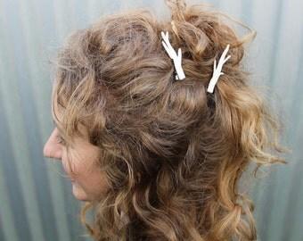 Handmade Deer Antler Hair Clips - Set of Two