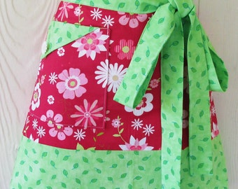 Pink and Green Floral Half Apron, Retro Style Half Apron, Cute Waist Apron, KitschNStyle
