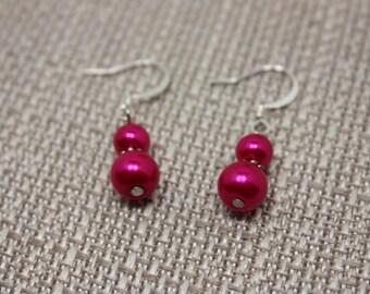 Neon pink pearl fishhook earrings E 449