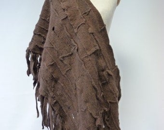 Sale, new price 55 Euro, original price 68 Euro.  Warm chocolate felted shawl, 100% wool; handmade. Only one sample.