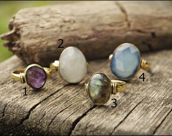 Bronze stone rings. Amethyst, blue Chalcedony, Moonstone and labradorite. Tribal jewelry. Boho.
