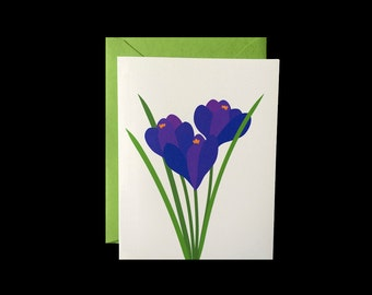 Purple Crocus - Greeting Card w/ Green Envelopes