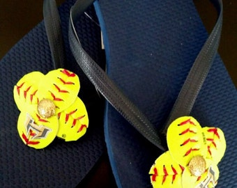 Softball flip flops..flowers hand cut from the leather of a softball.