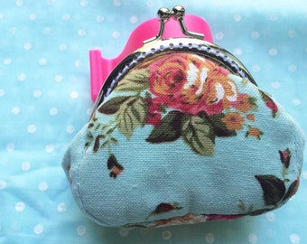 blue metal frame coin purse