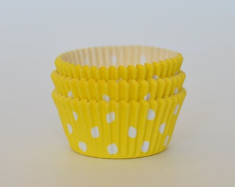 Yellow Polka Dot Cupcake Liners // Yellow Baking Cups (Qty 50)